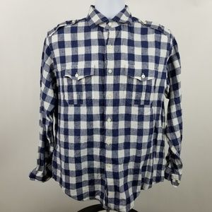 Brooks Brothers 1818 Mens Blue Gingham Check Linen